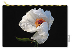 White Peony After The Rain Carry-all Pouch by Gill Billington