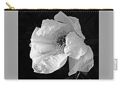 White Peony After The Rain In Black And White Carry-all Pouch by Gill Billington