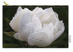 White Peony Covered In Raindrops Carry-all Pouch by Gill Billington