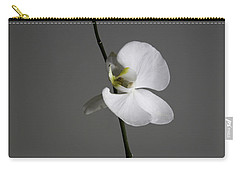 White Phalaenopsis Orchid Carry-all Pouch by Diane Diederich