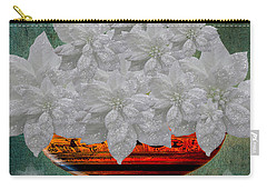 White Poinsettias In A Bowl Carry-all Pouch by Saundra Myles