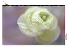Carry-all Pouch featuring the photograph White Ranunculus Bud by Jenny Rainbow