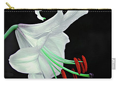 White, Red And Green Lily Carry-all Pouch