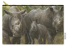 White Rhino Family - The Face That Only A Mother Could Love Carry-all Pouch