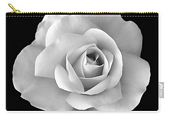 White Rose Flower In Black And White Carry-all Pouch