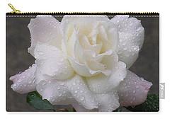 White Rose In Rain - 3 Carry-all Pouch by Shirley Heyn