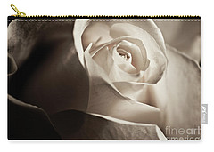 White Rose In Sepia 2 Carry-all Pouch