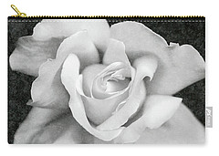 Carry-all Pouch featuring the photograph White Rose Macro Black And White by Jennie Marie Schell