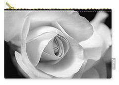 White Rose Petals Black And White Carry-all Pouch by Jennie Marie Schell