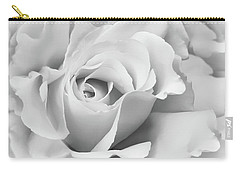 Carry-all Pouch featuring the photograph White Rose Ruffles Monochrome by Jennie Marie Schell