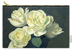 Four Off-white Roses In Trumpet Vase Carry-all Pouch