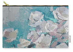 White Roses Palette Knife Acrylic Painting Carry-all Pouch