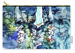 White Sailboats At Sunset Carry-all Pouch by Kovacs Anna Brigitta