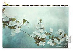 Carry-all Pouch featuring the mixed media White Sakura Blossoms by Shanina Conway