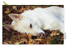 White Shepherd Rests In Autumn Leaves Carry-all Pouch