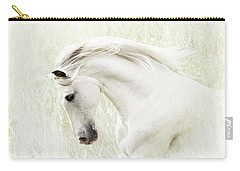 Carry-all Pouch featuring the digital art White Stallion by Melinda Hughes-Berland