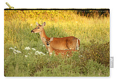 White-tail Doe And Fawn In Meadow Carry-all Pouch