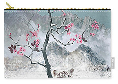 White Tiger And Plum Tree Carry-all Pouch