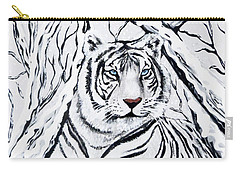 White Tiger Blending In Carry-all Pouch by Teresa Wing