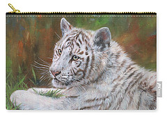 Carry-all Pouch featuring the painting White Tiger Cub 2 by David Stribbling