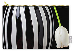 White Tulip In Striped Vase Carry-all Pouch by Garry Gay