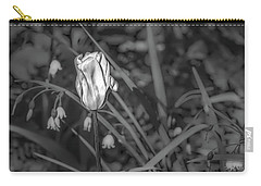 Carry-all Pouch featuring the photograph White Tulip June 2016 Bw.  by Leif Sohlman