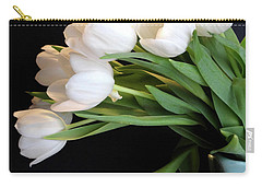 White Tulips In Blue Vase Carry-all Pouch by Julia Wilcox