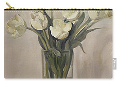 White Tulips In Rectangular Glass Vase Carry-all Pouch