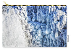 Carry-all Pouch featuring the photograph White Water And Blue Ice Gullfoss Waterfall Iceland by Matthias Hauser