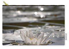 Carry-all Pouch featuring the photograph White Waterlily 3 by Jouko Lehto