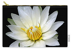 White Waterlily With Dewdrops Carry-all Pouch by Rose Santuci-Sofranko