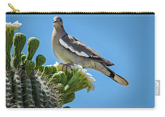 White Winged Dove On Cactus Flower Carry-all Pouch