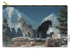 White Wolf, Black Wolf Carry-all Pouch by Daniel Eskridge