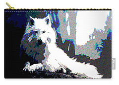 Carry-all Pouch featuring the mixed media White Wolf by Charles Shoup