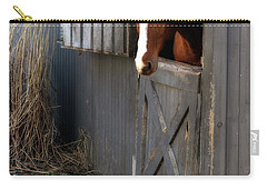 Carry-all Pouch featuring the photograph Why Did The Guinea Hen Cross The Road by Angela Rath