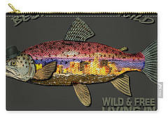 Carry-all Pouch featuring the digital art Wild And Free In Anchorage-trout With Hat by Elaine Ossipov