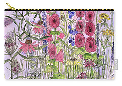 Carry-all Pouch featuring the painting Wild Garden Flowers by Laurie Rohner