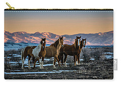 Carry-all Pouch featuring the photograph Wild Horse Group by Bryan Carter