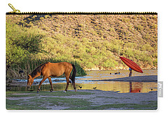 Wild Horse On River With People In Water Carry-all Pouch