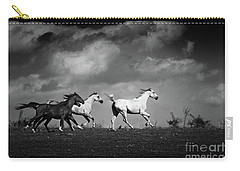 Wild Horses - Black And White Carry-all Pouch