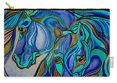 Wild  Horses In Brown And Teal Carry-all Pouch