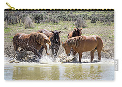 Wild Mustang Stallions Playing In The Water - Sand Wash Basin Carry-all Pouch
