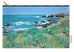 Carry-all Pouch featuring the painting Wild Lupin At Gerstle Cove Park In May by Asha Carolyn Young