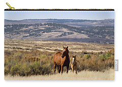Wild Mare With Young Foal In Sand Wash Basin Carry-all Pouch