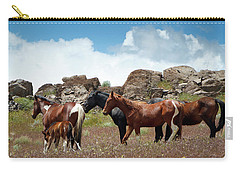Wild Mustang Herd In The Springtime. Carry-all Pouch