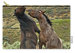 Wild Mustang Stallions Fighting Carry-all Pouch