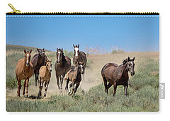 wild mustangs on the run to the water hole in Sand Wash Basin Carry-all Pouch