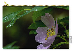 Carry-all Pouch featuring the photograph Wild Rose With Shelter by Darcy Michaelchuk