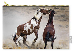 Wild Stallion Battle - Picasso And Dragon Carry-all Pouch by Nadja Rider
