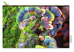 Carry-all Pouch featuring the photograph Wild Striped Mushroom Growing On Tree - Paradise Springs - Kettle Moraine State Forest by Jennifer Rondinelli Reilly - Fine Art Photography